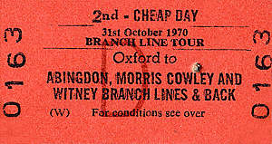 'Witney Wanderer' ticket- the last train to traverse the Witney Railway - 31 October 1970