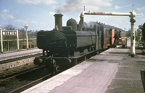 7445 taking water at Witney 15 April 1962
