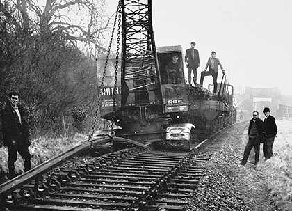 Last section of rail being lifted on the EGR in 1965