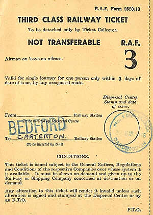 RAF Bedford to Carterton ticket