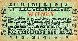 Witney platform ticket